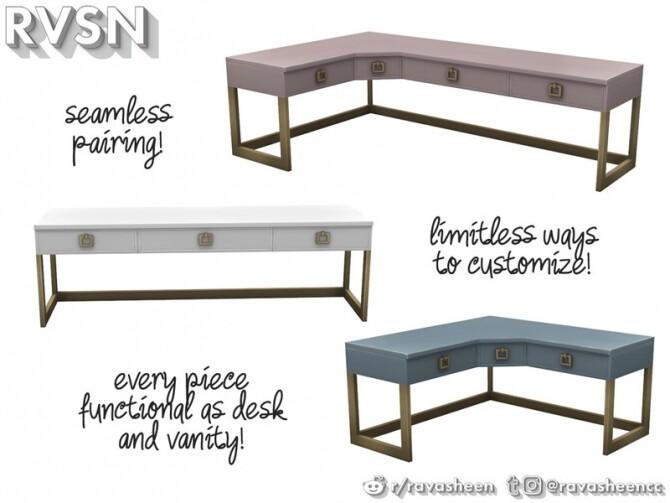 Sims 4 Social Distancing Desk & Vanity Set by RAVASHEEN at TSR