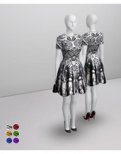 Black-Jacquard-Stretch-Flared-Mini-Dress-by-Rusty-1