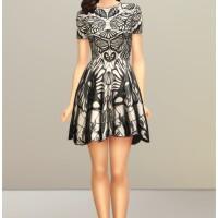 Black-Jacquard-Stretch-Flared-Mini-Dress-by-Rusty-3
