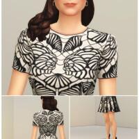 Black-Jacquard-Stretch-Flared-Mini-Dress-by-Rusty-4