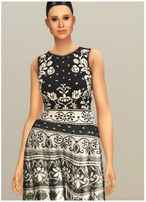Sims 4 Black Jacquard Stretch Midi Dress at Rusty Nail
