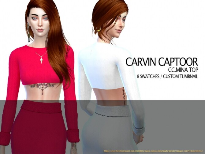 Sims 4 Mina Top by carvin captoor at TSR