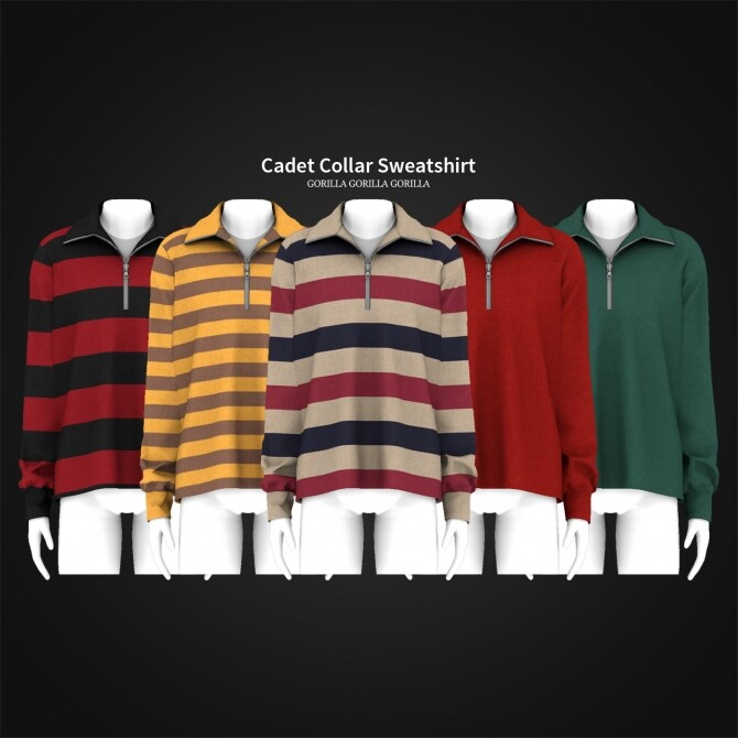 Cadet Collar Sweatshirt at Gorilla image Cadet Collar Sweatshirt by Gorilla X3 1 670x670 Sims 4 Updates