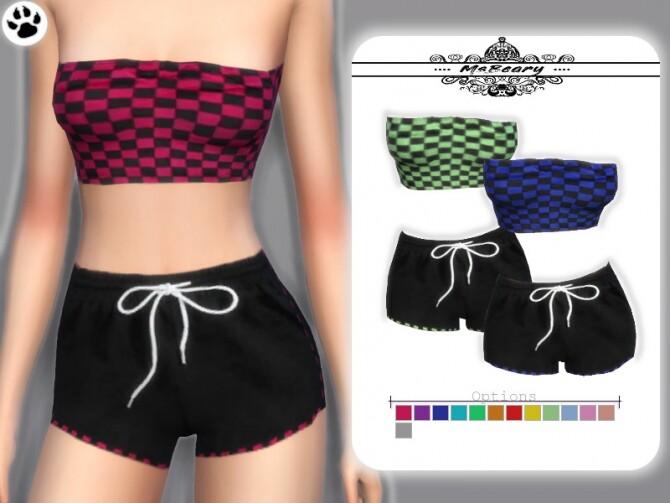 Sims 4 Checkered Tube Top and Drawstring Shorts by MsBeary at TSR