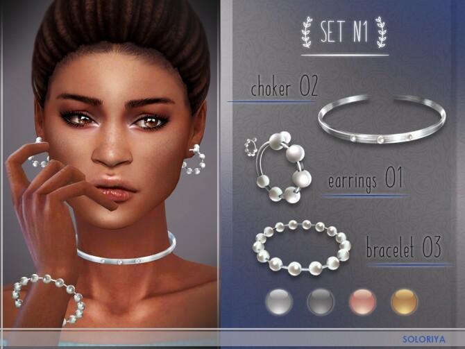 Accessories set N1 at Soloriya image Choker Bracelet Earrings by Soloriya 3 670x503 Sims 4 Updates