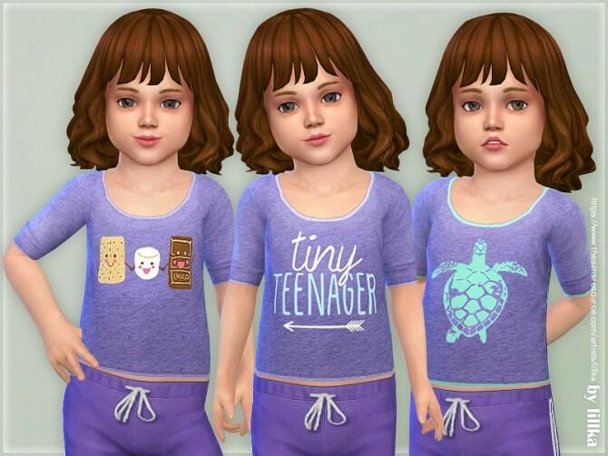 Sims 4 Comfy Shirt for Toddler Girls 02 by lillka at TSR