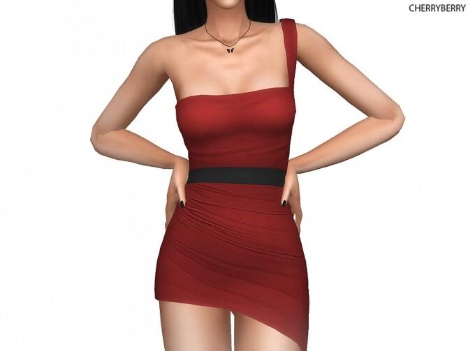 Diascia Asymmetric Mini Dress at Cherryberry image Diascia Asymmetric Mini Dress Red by cherryberry 670x503 Sims 4 Updates