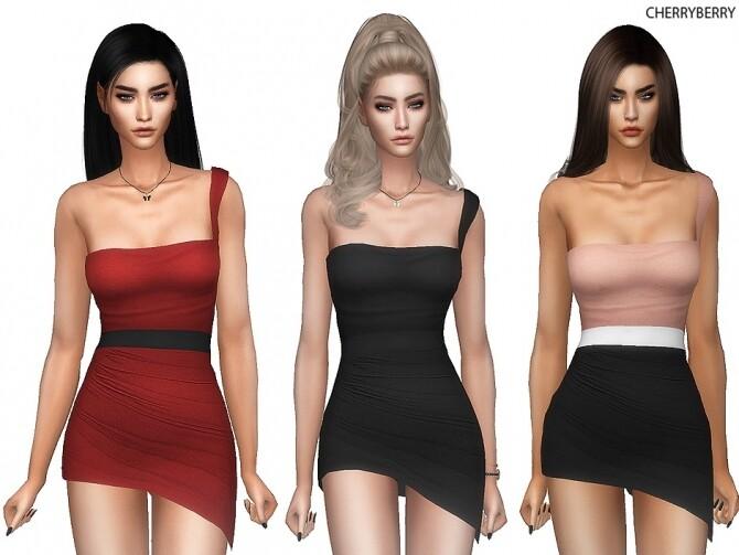 Diascia Asymmetric Mini Dress at Cherryberry image Diascia Asymmetric Mini Dress by cherryberry 670x503 Sims 4 Updates