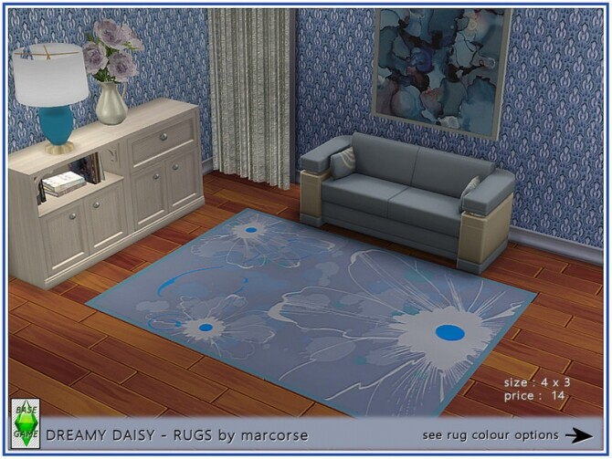 Sims 4 Dreamy Daisy Rugs by marcorse at TSR