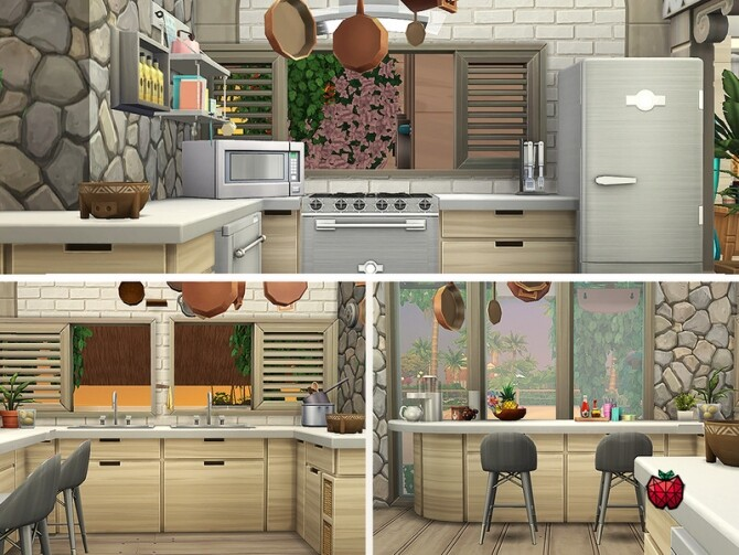 Gina house noCC by melapples at TSR image Gina house kitchen by melapples 670x503 Sims 4 Updates