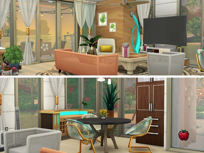 Gina house noCC by melapples at TSR image Gina house living by melapples 670x503 Sims 4 Updates
