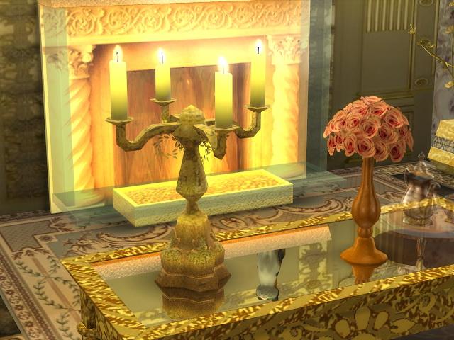 Golden-Candelabre-and-Big-Ceiling-Lamp