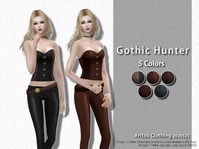Sims 4 Gothic hunter outfit by Arltos at TSR
