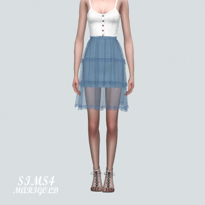 Sims 4 Lace Tiered Sha Midi Skirt at Marigold