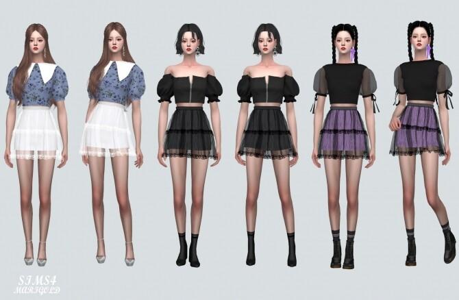 Lace Tiered Sha Mini Skirt at Marigold image Lace Tiered Sha Mini Skirt by Marigold 5 670x438 Sims 4 Updates