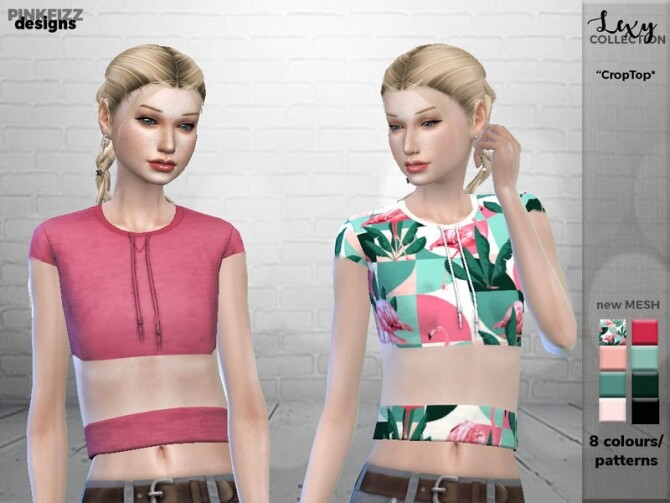 Sims 4 Lexy Crop Top PF91 by Pinkfizzzzz at TSR