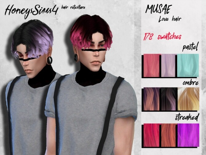 Sims 4 Male hair retexture MUSAE Love by HoneysSims4 at TSR