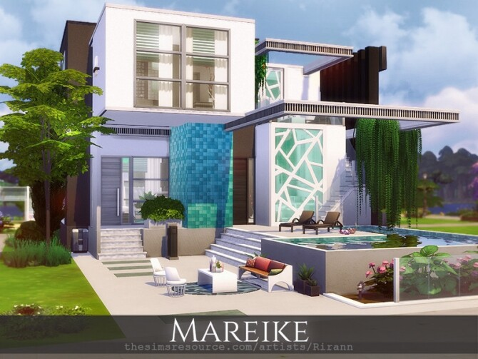 Sims 4 Mareike contemporary house by Rirann at TSR