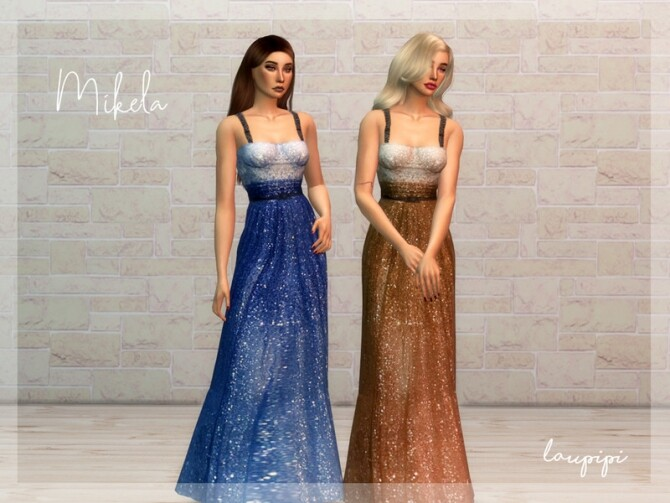 Sims 4 Mikela embellished long dress by laupipi at TSR