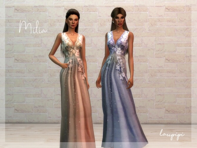 Sims 4 Milia embellished long dress by laupipi at TSR