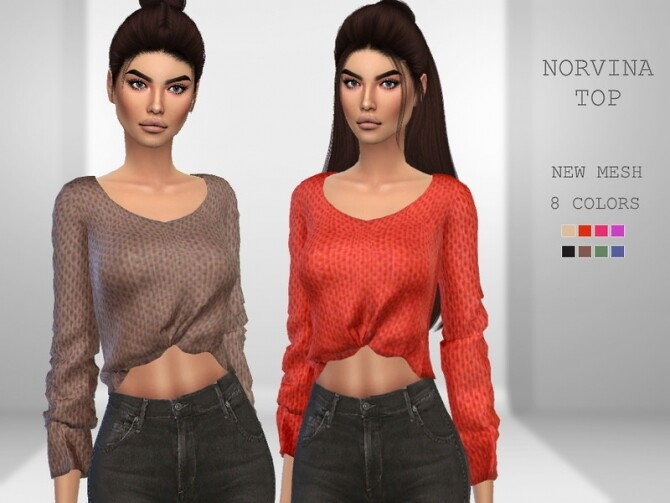Sims 4 Norvina Top by Puresim at TSR