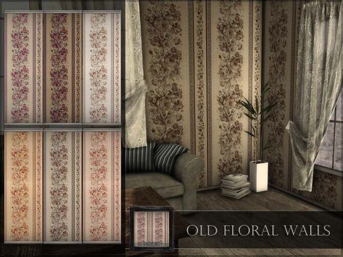 Sims 4 Old Floral Walls by RemusSirion at TSR