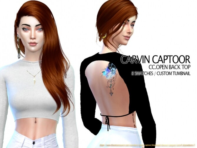 Sims 4 Open Back Top by carvin captoor at TSR