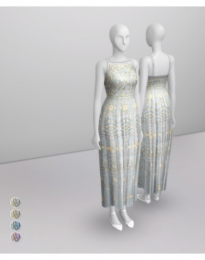 Sims 4 Pale Pastel Embroidered Tulle Gown at Rusty Nail
