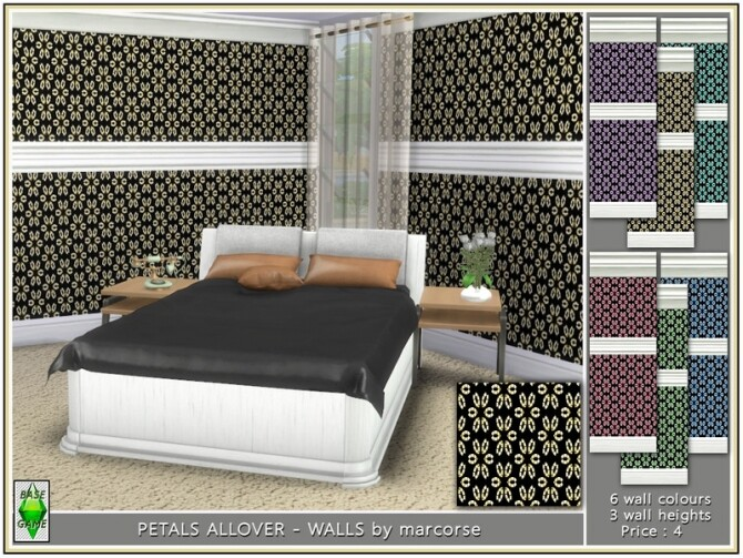 Sims 4 Petals All over Walls by marcorse at TSR