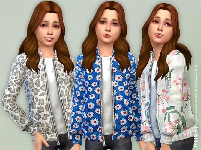 Sims 4 Printed Jacket for Girls by lillka at TSR