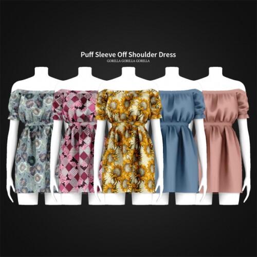 Puff-Sleeve-Off-Shoulder-Dress
