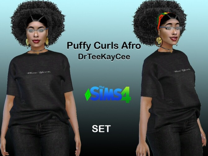 Sims 4 Puffy Curls Afro Hair Set by drteekaycee at TSR