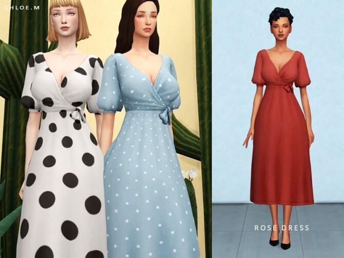Sims 4 Rose Dress by ChloeMMM at TSR