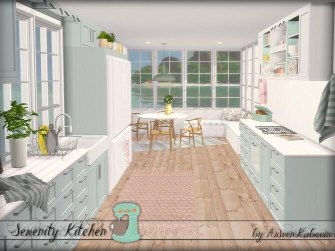 Serenity Kitchen by ArwenKaboom at TSR image Serenity Kitchen by ArwenKaboom green mint 7 670x503 Sims 4 Updates