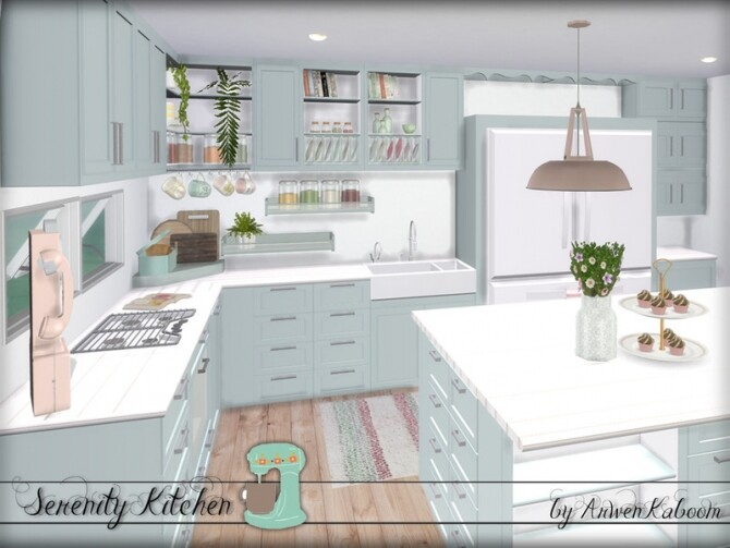 Serenity Kitchen by ArwenKaboom at TSR image Serenity Kitchen by ArwenKaboom mint 2 670x503 Sims 4 Updates