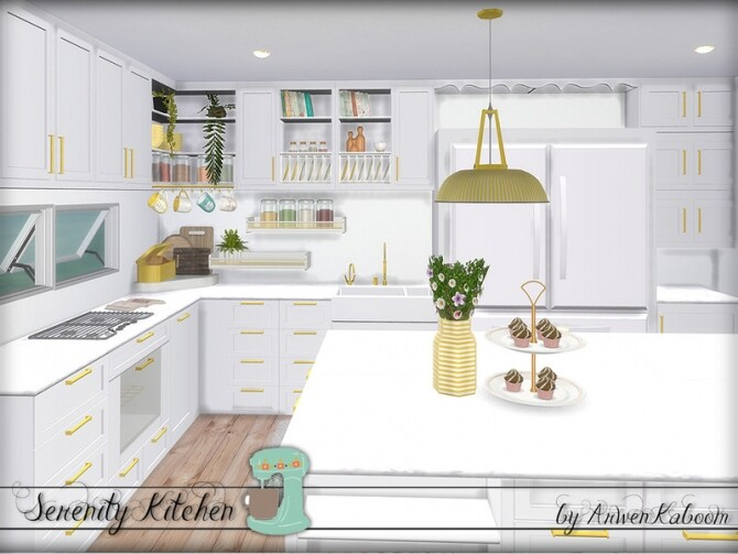 Serenity Kitchen by ArwenKaboom at TSR image Serenity Kitchen by ArwenKaboom white 1 670x503 Sims 4 Updates