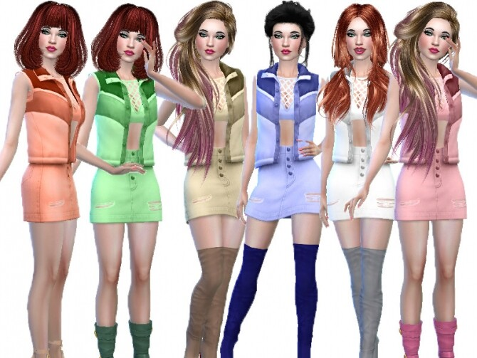 Sims 4 Sleeveless sweater outfit by TrudieOpp at TSR