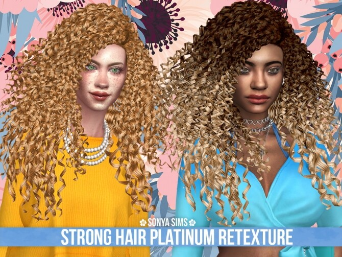 Sims 4 Strong Hair PLATINUM RETEXTURE at Sonya Sims