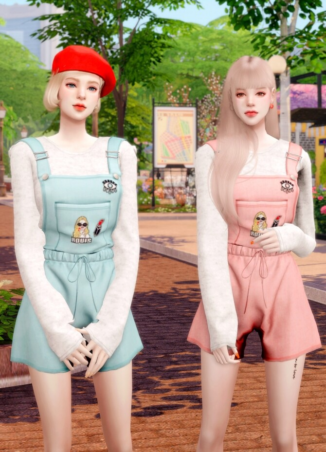 Sims 4 Suspenders Overall Jumpsuit at RIMINGs