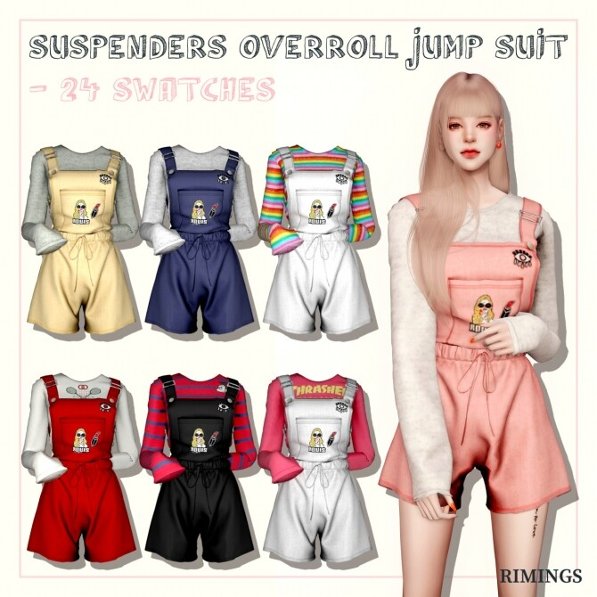Suspenders Overall Jumpsuit at RIMINGs image Suspenders Overall Jumpsuit 670x670 Sims 4 Updates