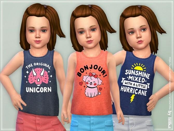 Sims 4 Toddler Girl Tank Top 02 by lillka at TSR