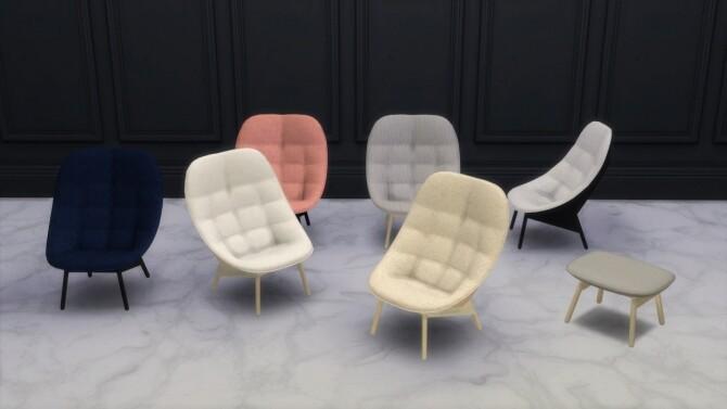 Sims 4 Uchiwa Chaise Longue, Armchair & Ottoman (P) at Meinkatz Creations
