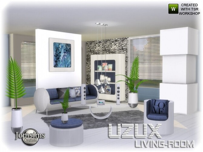 Uzux living room by jomsims at TSR image Uzux living room blue by jomsims 670x503 Sims 4 Updates