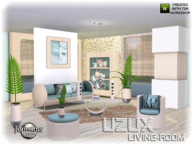 Sims 4 Uzux living room by jomsims at TSR