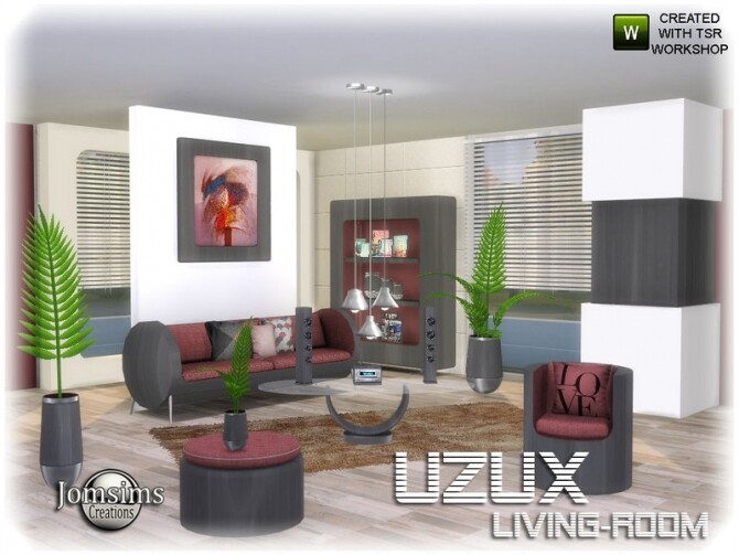 Uzux living room by jomsims at TSR image Uzux living room red by jomsims 670x503 Sims 4 Updates