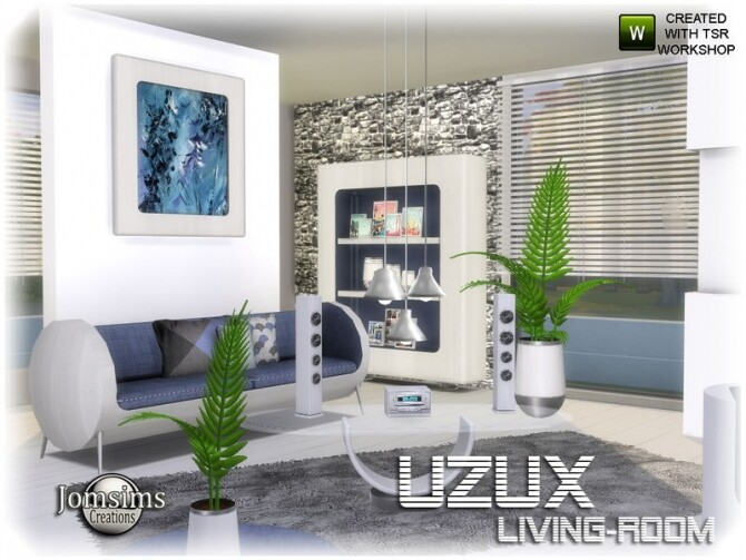Uzux living room by jomsims at TSR image Uzux living room white by jomsims 670x503 Sims 4 Updates