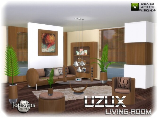 Uzux living room by jomsims at TSR image Uzux living room wood by jomsims 670x503 Sims 4 Updates