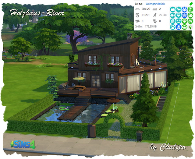 Sims 4 Wood House River by Chalipo at All 4 Sims