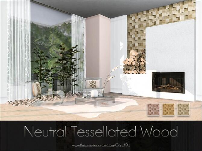 Sims 4 Neutral Tessellated Wood mosaic wall by Caroll91 at TSR