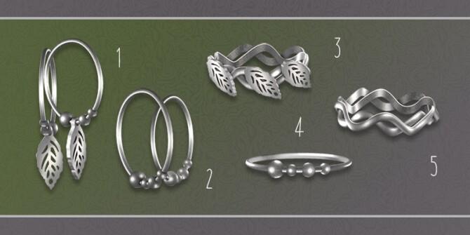 Sims 4 Set N3: 2 earrings and 3 bracelets at Soloriya